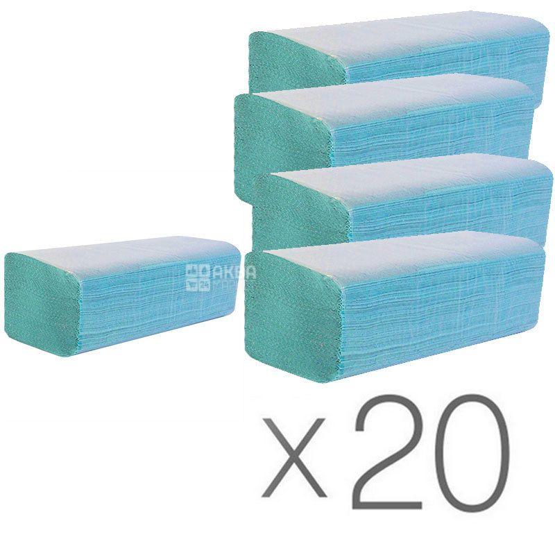 Wellis, 20 упаковок по 160 листов, Бумажные полотенца Велис, однослойные, V-сложения, зеленые, 25х24 см