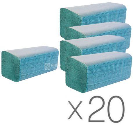 Wellis, 20 упаковок по 200 листов, Бумажные полотенца Велис, однослойные, V-сложения, ассорти