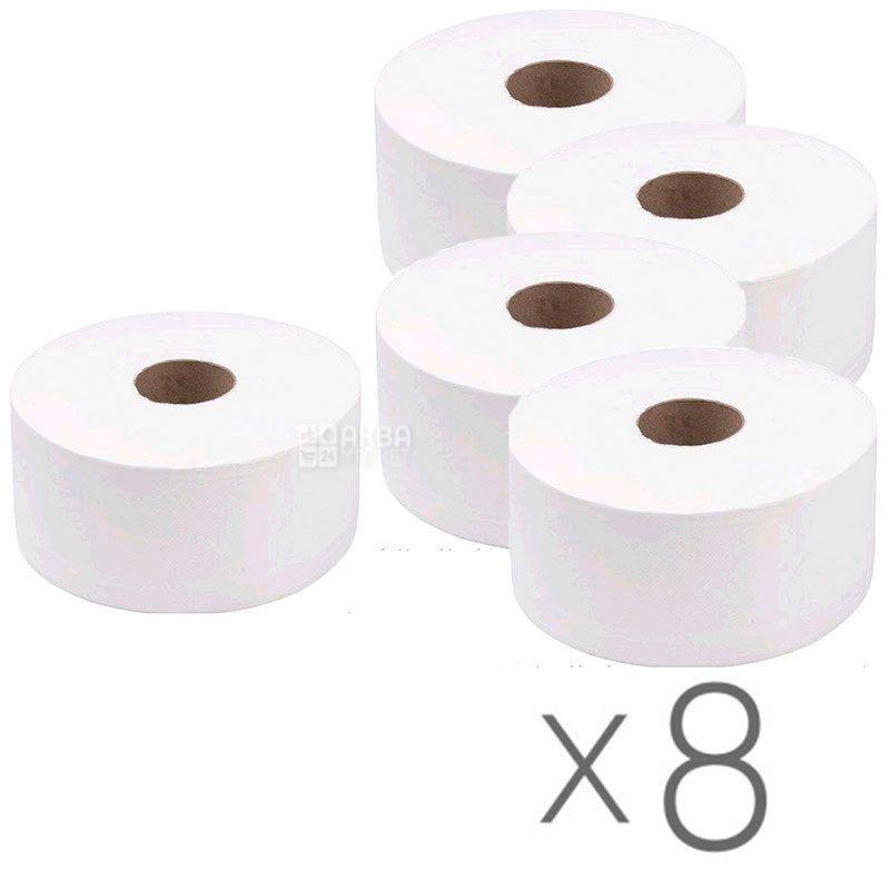 Wellis, Упаковка 8 шт. по 100 м, Туалетная бумага Велс, Джамбо, 2-х слойная