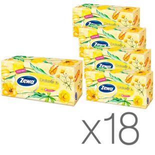 Zewa Deluxе, 18 упаковок по 90 шт., Салфетки универсальные Зева Делюкс, 3-х слойные, 20х20.8 см, белые