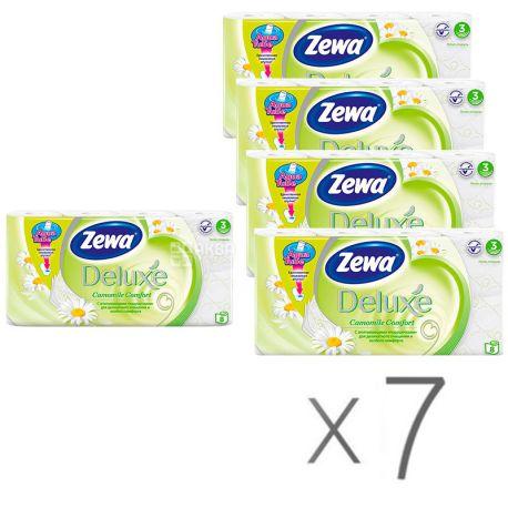 Zewa Deluxe Camomile Comfort, Упаковка 7 шт. по 8 рул., Туалетная бумага Зева Делюкс, Ромашка, 3-х слойная