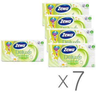 Zewa Deluxe, Туалетная бумага, трехслойная, аромат ромашки, 7 упаковок по 8 рулонов
