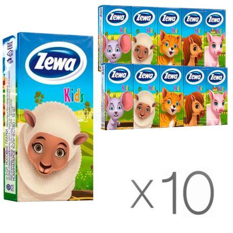 Zewa Kids, 10 упаковок по 10 шт., Платочки носовые Зева, Детские, 2-х слойные