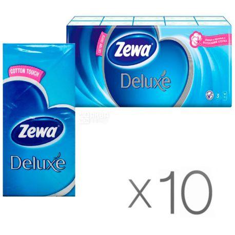 Zewa Deluxe, 10 упаковок по 10 шт., Платочки носовые бумажые Зева Делюкс, 3-х слойные