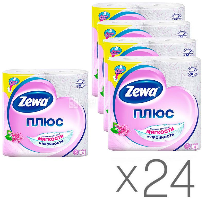 Zewa Plus, Упаковка 24 шт. по 4 рул., Туалетная бумага Зева Плюс, Сирень, 2-х слойная