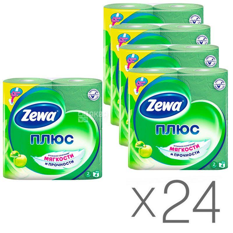 Zewa Plus, Туалетная бумага, двухслойная, аромат яблока, 24 упаковки по 4 рулона