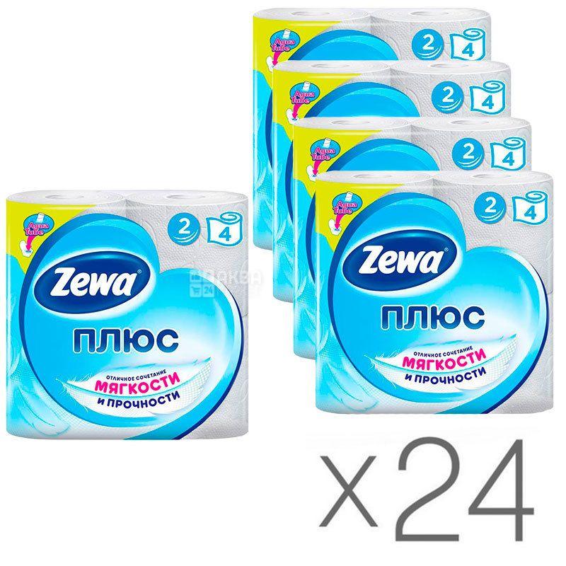 Zewa Plus, Упаковка 24 шт. по 4 рул., Туалетная бумага Зева Плюс, 2-х слойная