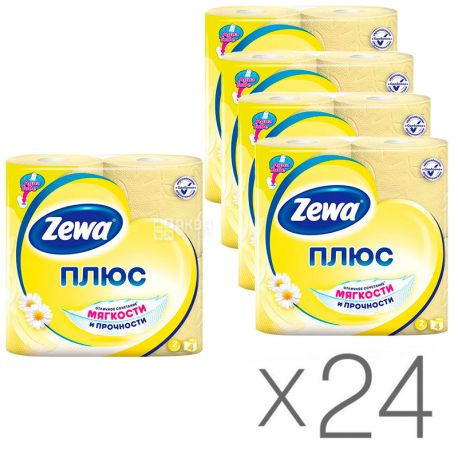 Zewa Plus, Туалетний папір, двошарова, аромат ромашки, 24 упаковки по 4 рулони