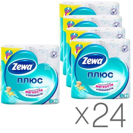 Zewa Plus, Упаковка 24 шт. по 4 рул., Туалетная бумага Зева Плюс, Свежесть Океана, 2-х слойная