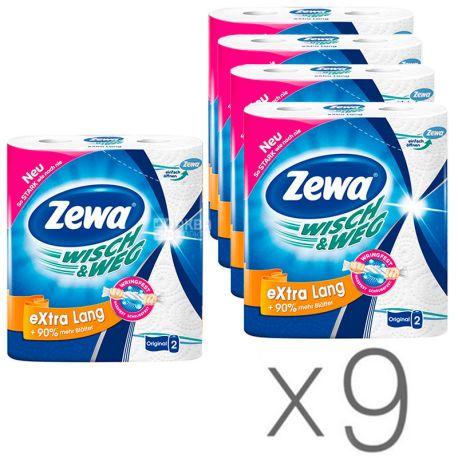 Zewa, Wisch & Weg Classic, 9 упаковок по 2 рул., Бумажные полотенца Зева,  2-х слойные, 19 м, 86 листов, 23х12 см