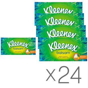 Kleenex Balsam, 24 упаковки по 72 шт., Салфетки косметические Клинекс Бальзам, 3-х слойные, белые