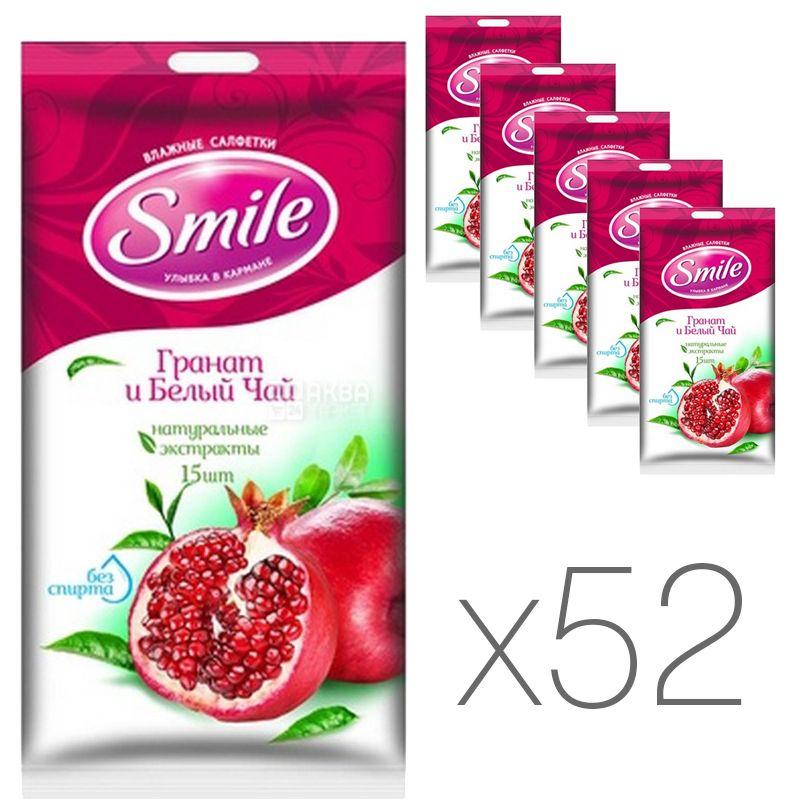 Smile, Влажные салфетки Гранат и белый чай, 52 упаковки по 15 шт.