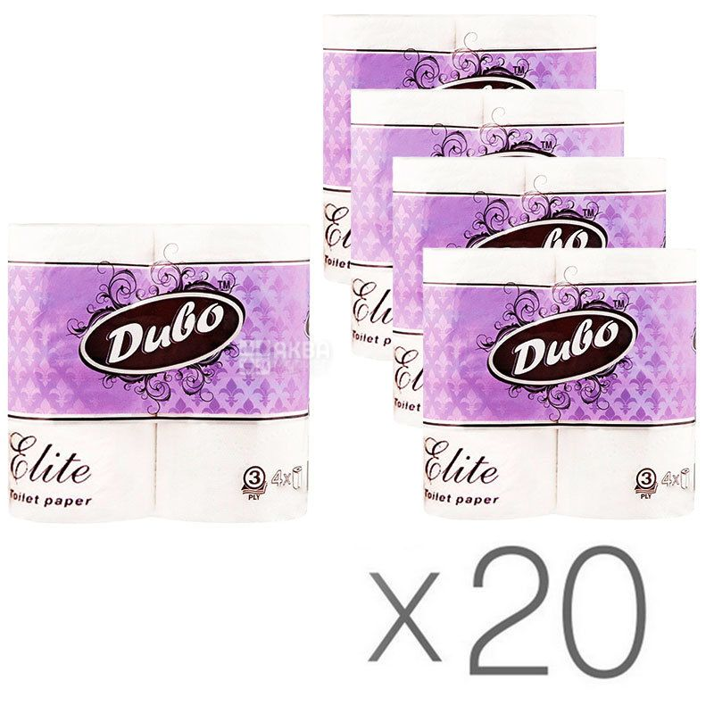 Диво Elit, Упаковка 20 шт. по 4 рул., Туалетная бумага, Элит, 3-х слойная