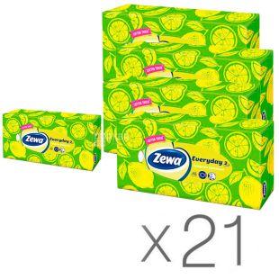 Zewa Everyday, 21 упаковка по 100 шт., Серветки для обличчя Зева Еврідей, 2-х шарові, 19х20.8 см, білі