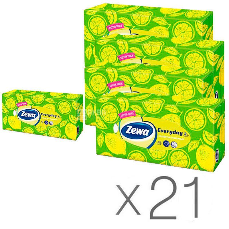 Zewa Everyday, 21 упаковка по 100 шт., Салфетки для лица Зева Эвридей, 2-х слойные, 19х20.8 см, белые