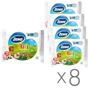 Zewa Kids, 8 упаковок по 42 листа, Туалетная бумага Зева Кидс, для детей, влажная