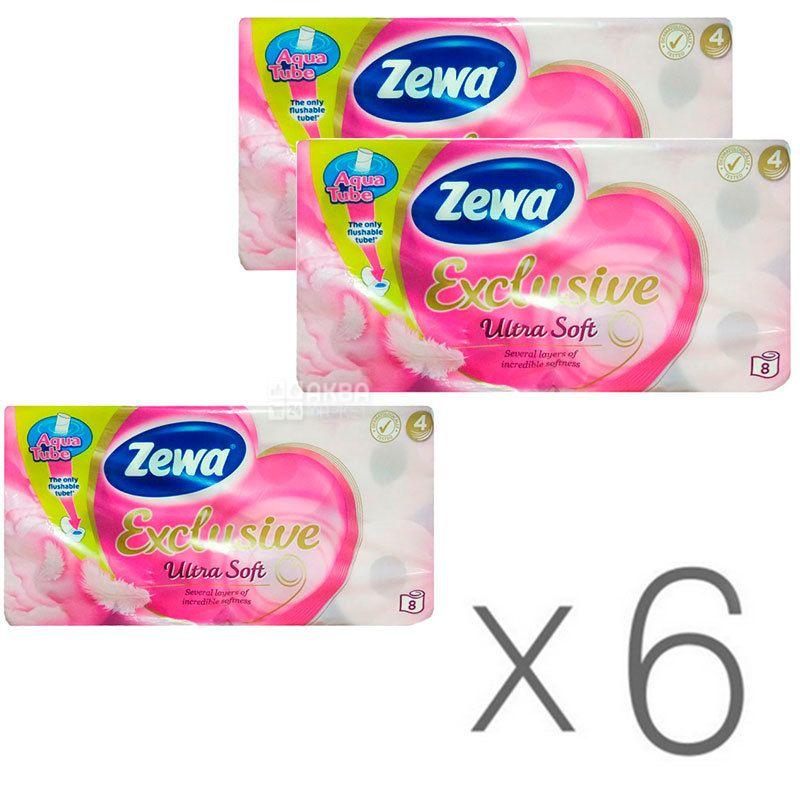 Zewa Exclusive Ultra Soft, Упаковка 6 шт. по 8 рул., Туалетная бумага Зева Эксклюзив, Ультра Софт, 4-х слойная