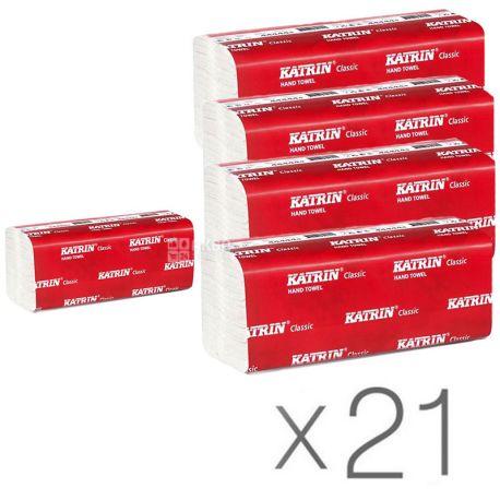 KATRIN, Classic, 21 упаковка по 150 листов, Бумажные полотенца Катрин, 2-х слойные ZZ-сложения, 22.4х23 см