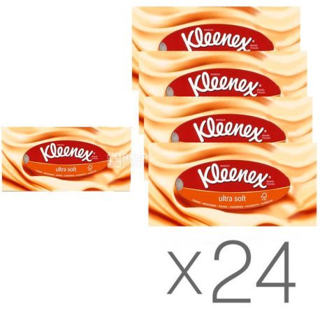 Kleenex Ultra Soft, 24 упаковки по 56 шт., Салфетки косметические Клинекс, супер мягкие, 3-х слойные, 21 х 18 см, белые