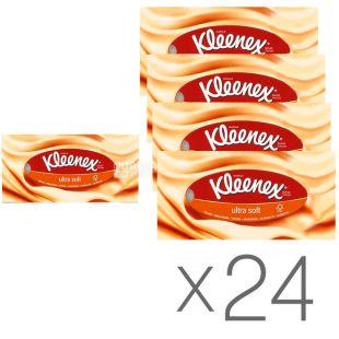 Kleenex Ultra Soft, 24 упаковки по 56 шт., Серветки косметичні Клінекс, супер м'які, 3-х шарові, білі