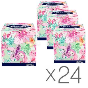 Kleenex Cube Collection XL, 24 упаковки по 100 шт., Салфетки косметические Клинекс Коллекшн, 2-х слойные, 22х22 см, белые