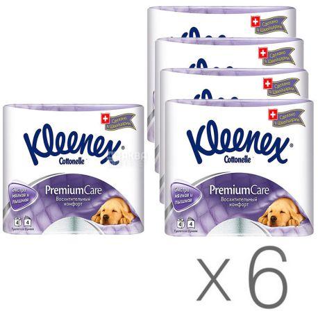 Kleenex Premium Comfort, Упаковка 6 шт. по 4 рул., Туалетная бумага Клинекс Премиум Комфорт, 4-х слойная
