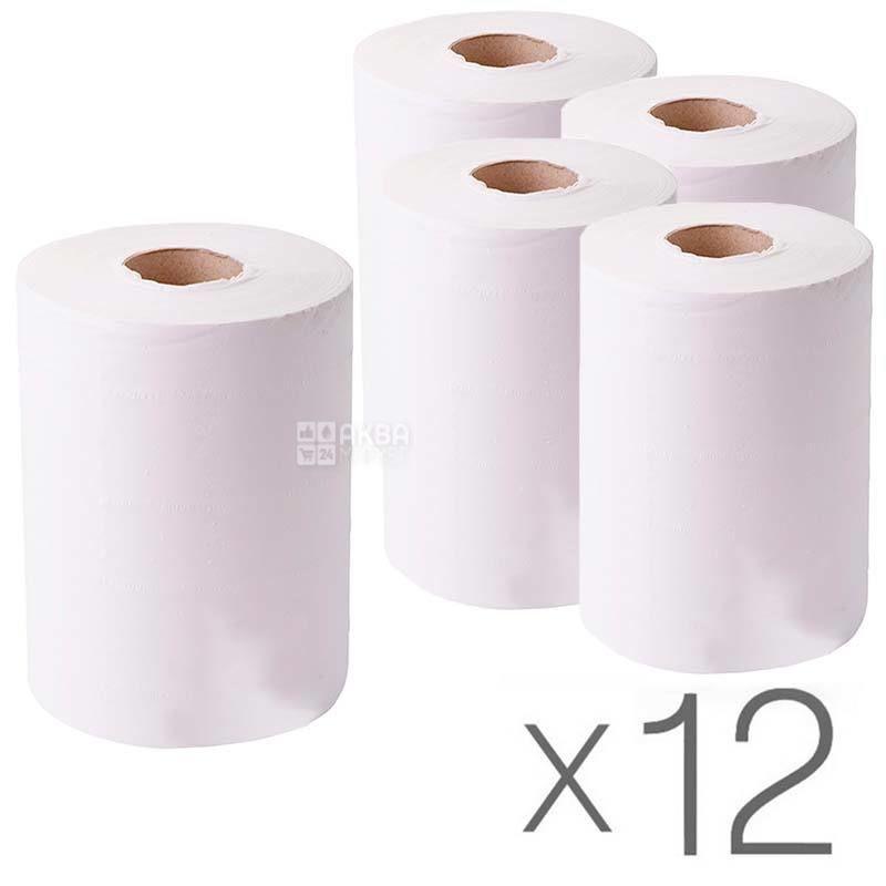 Mirus, 12 упаковок по 1 рул., Полотенца бумажные Мирус, 2-х слойные, с центральной вытяжкой, 60 м, 19х10 см