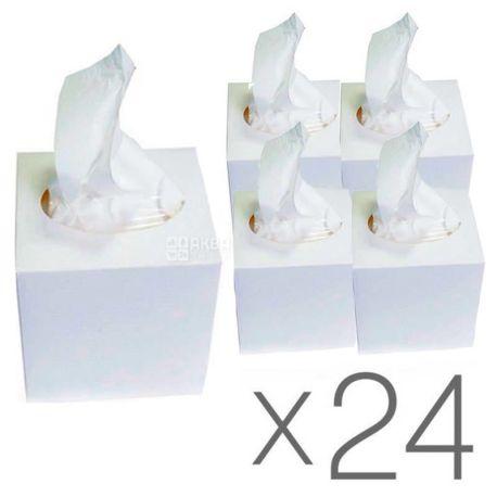 Mirus Cube, 24 упаковки по 75 шт., Серветки косметичні Мірус, двошарові, 20х17 см, білі