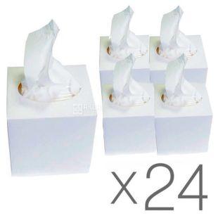 Mirus Cube, 24 упаковки по 75 шт., Салфетки косметические Мирус, 2-х слойные, 20х17 см, белые