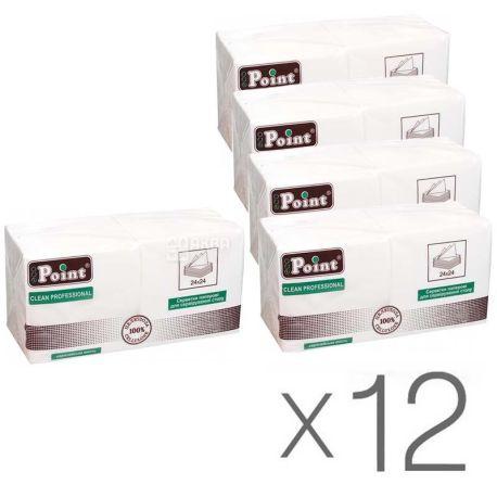 Mirus, 12 упаковок по 200 шт., Салфетки столовые Мирус, 2-х слойные, 24х24 см, белые