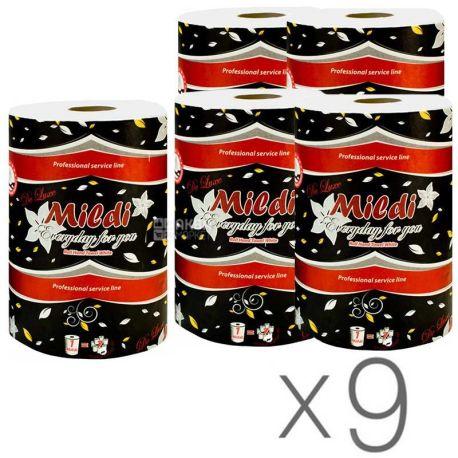 Mildi Premium, 2 упаковки по 1 рул., Полотенца бумажные Миди, 2-х слойные, 330 листов, 90 м, 16х16 см