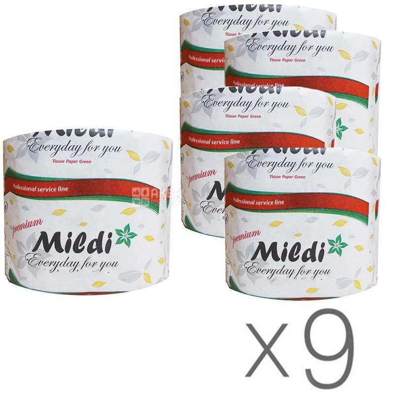 Mildi Maxi, Упаковка 9 шт. по 1 рул., Туалетная бумага Милди Макси, 2-х слойная