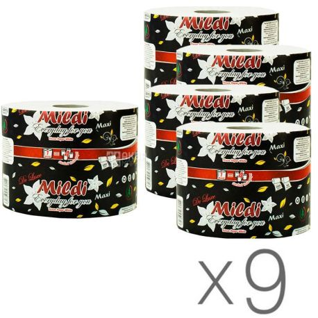 Mildi Maxi Premium, Упаковка 9 шт. по 1 рул., Туалетная бумага Милди Макси Премиум, 2-х слойная