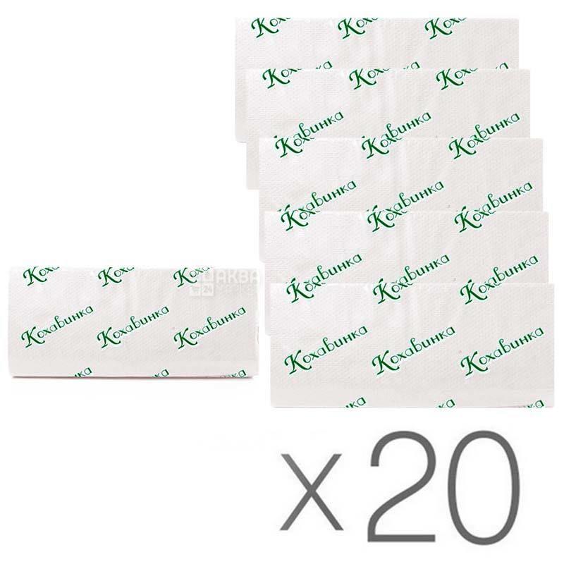 Кохавинка, Полотенца бумажные 2-х слойные, Z-сложения, белые, 20 упаковок по 160 листов, 23х25 см
