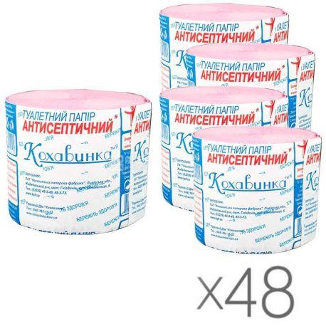 Кохавинка, 48 упаковок по 1 рул., Туалетная бумага, Антисептическая, 1-слойная