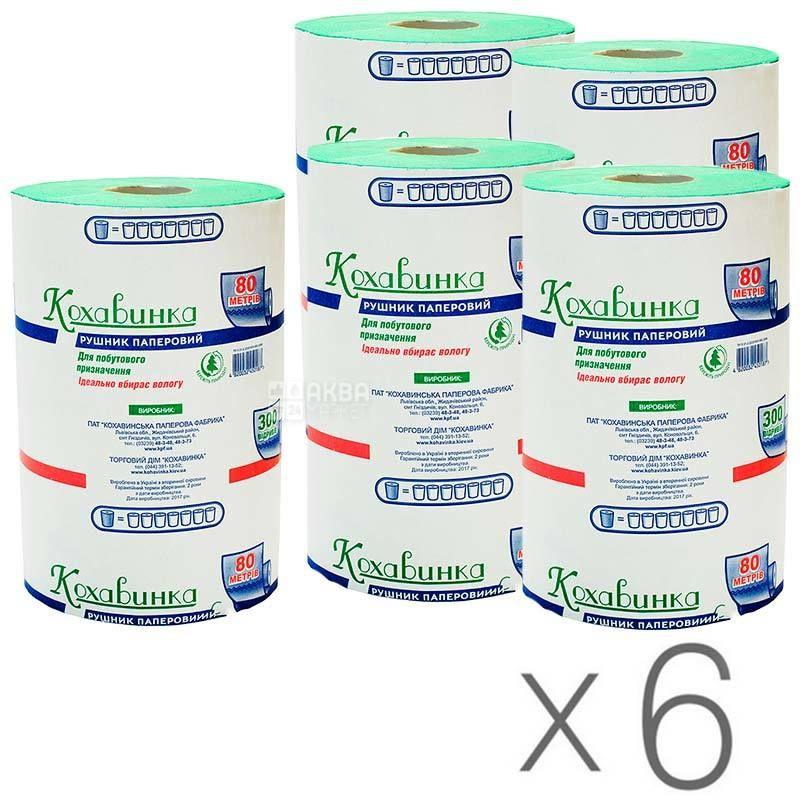 Кохавинка, 6 упаковок по 1 рул., Бумажные полотенца, однослойные, 80 м, 300 отрывов