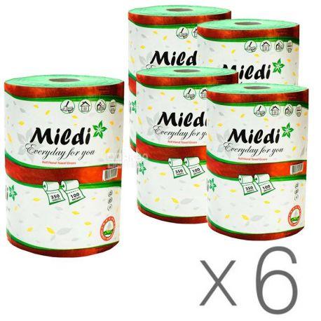 Mildi, 6 упаковок по 1 рул., Полотенца бумажные Милди, однослойные, зеленые, 350 листов, 100 м, 16х16 см