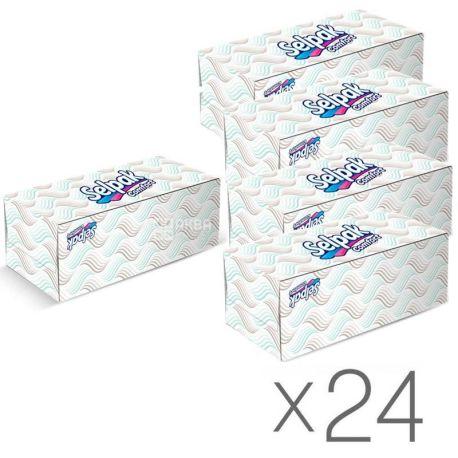 Selpak Comfort, 24 упаковки по 150 шт., Салфетки косметические Селпак Комфорт, 2-х слойные, 21х21 см, белые