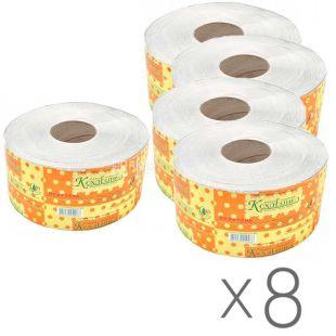 Кохавинка, 8 упаковок по 150 м, Туалетний папір, Джамбо, 1-шаровий