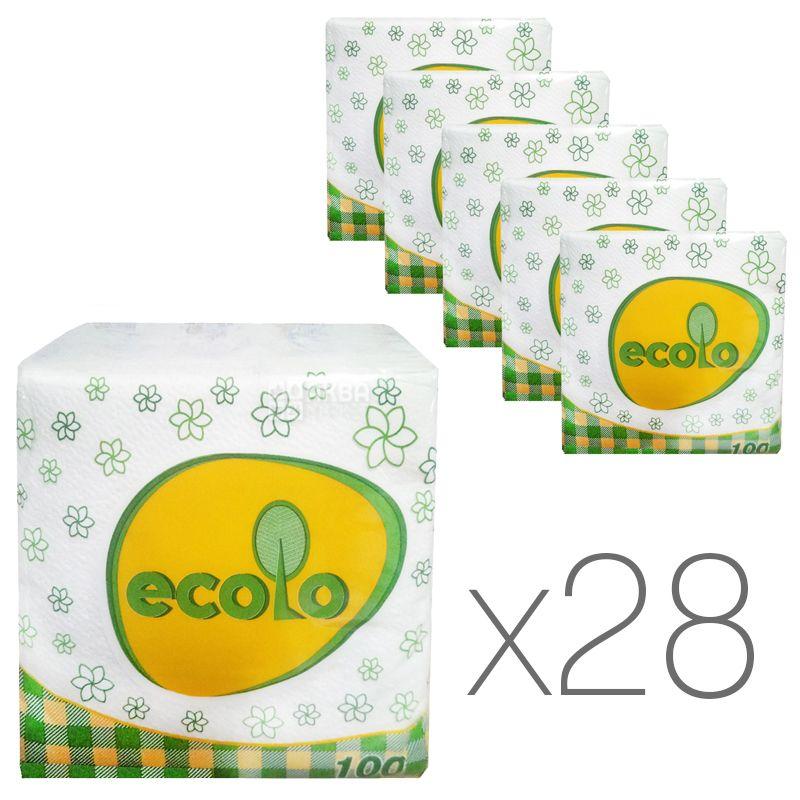 Ecolo, 28 упаковок по 100 шт., Серветки столові Еколо, одношарові, 24х24 см, білі