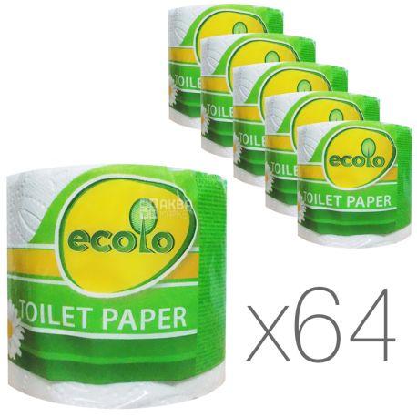 Ecolo, Упаковка 64 шт. по 1 рул.,Туалетная бумага Эколо, 2-х слойная