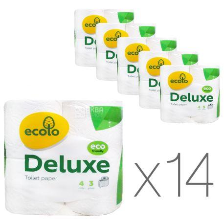 Ecolo, Deluxe, Упаковка 14 шт. по 4 рул.,Туалетная бумага Эколо Делюкс, 3-х слойная