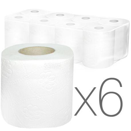 КПК, Упаковка 6 шт. по 8 рул., Туалетний папір, 2-х шаровий