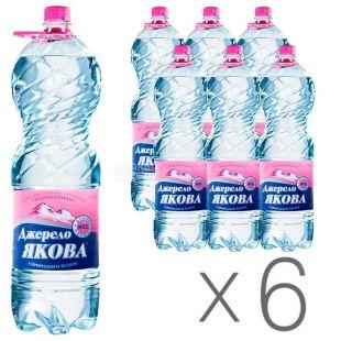 Джерело Якова, Вода минеральная сильногазированная, 1,5 л, упаковка 6 шт., ПЭТ