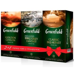 Greenfield, Golden Ceylon + Earl Grey + Classic Breakfast, 75 пак. x 2 г, Чай Грінфілд, чорний