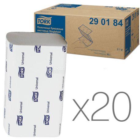 Tork, 20 упаковок по 200 листов, Полотенца бумажные Торк, 2-х слойные, ZZ-сложения, 23х23 см