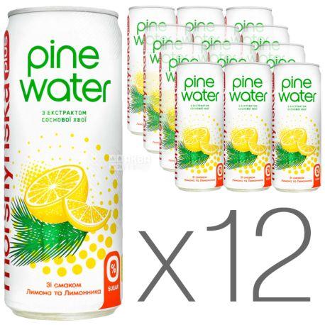 Моршинська Pine Water Лимон, 0,33 л, Упаковка 12 шт., Вода слабогазована з екстрактом соснової хвої, без цукру, ж/б