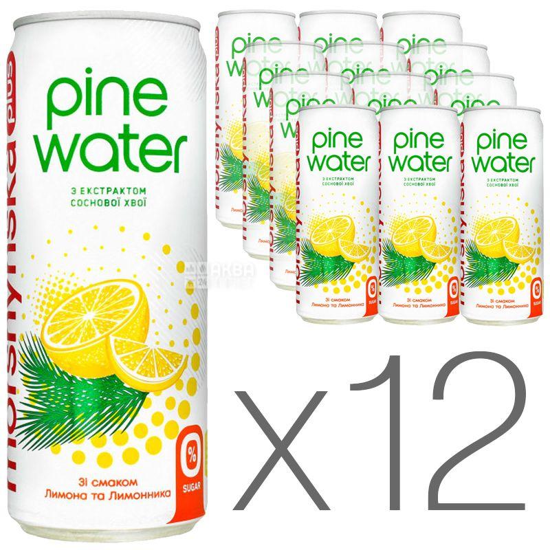 Моршинская Pine Water Лимон, 0,33 л, Упаковка 12 шт., Вода слабогазированная с экстрактом сосновой хвои, без сахара, ж/б