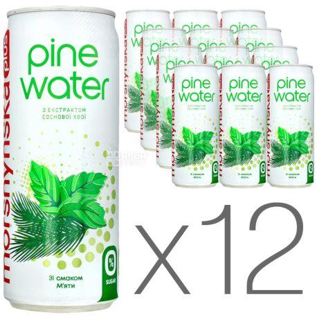 Моршинская Pine Water Мята, 0,33 л, Упаковка 12 шт., Вода слабогазированная с экстрактом сосновой хвои, без сахара, ж/б