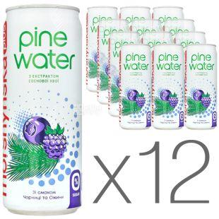 Моршинська Pine Water Чорниця-Ожина, 0,33 л, Упаковка 12 шт., Вода слабогазована з екстрактом соснової хвої, без цукру, ж/б